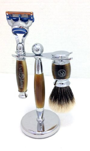 FS 3 Piece Fusion Razor and Finest Badger Hair Shaving Brush, Horn Color and Stand
