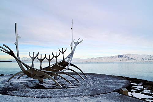 Home Comforts Canvas Print Sun Voyager Viking Ship Statue Port Reykjavik Vivid Imagery Stretched Canvas 32 x 24
