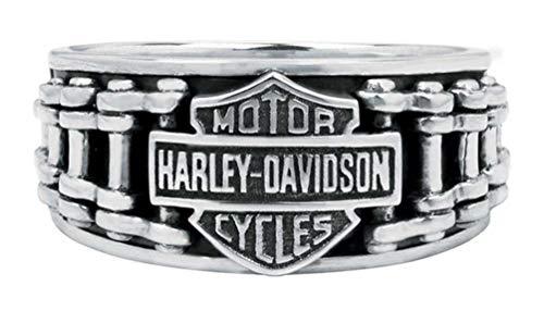Harley-Davidson Men's Bar & Shield Bike Chain Ring, Sterling Silver HDR0260 (10)