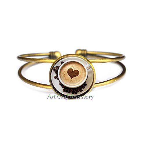 Cappuccino Jewelry - Cappuccino Bangle Heart Coffee Bracelet Hot Chocolate Art Jewelry for Glass Cabochon Bangle Bracelet,T0027