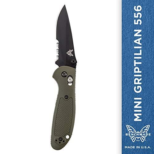 Benchmade - Mini Griptilian 556 EDC Manual Open Folding Knife Made in USA, Drop-Point Blade, Serrated Edge, Coated Finish, Olive Handle