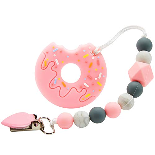 Nearbyme Baby Teething Toys, BPA Free Silicone Doughnut Shape Teether with Relief Beads Binky Holder and Pacifier Clips for Toddlers & Infant (Pink)