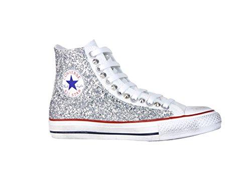 Glitter Vintage CONVERS con Star berge''' Glitter Argento Sneaker ALL Cono Borchie 6c18WI