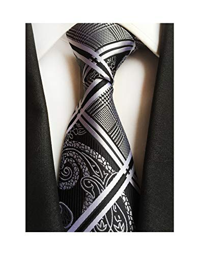 Men's Black and White Ties Geometric Modern Check Plaids Striped Paisley Patterned Wedding Neckties