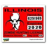 Illinois IL Zombie Hunting License Permit Red - Biohazard Response Team - Window Bumper Locker Sticker