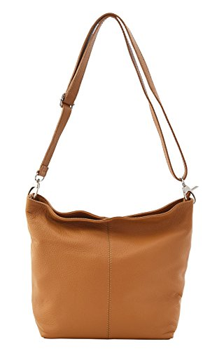 in Lightcognac Leather Genuine Bag Hobos Made Schoulder Handbag Italy PRATICA 0AqwHn1Fq