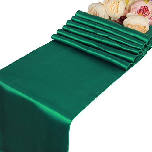 Hunter Green Satin Table Runners - 10 pcs Wedding Banquet Party Event Decoration Table Runners (Hunter Green, 10)
