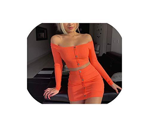 (Orange Knitted Off Shoulder Piece Women Button Slash Neck Crop Tops Sexy Mini Skirts,Orange,L)