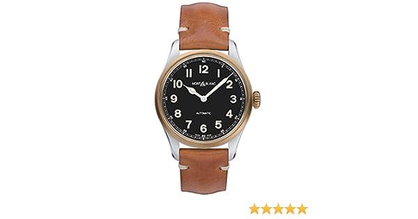 Reloj Montblanc 1858 Automático 117833 Esfera Negra Correa Piel marrón