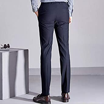 TOPG Classic Mens Casual Flat Front Suit Pants Business Dress Slim Fit Stretch Trousers