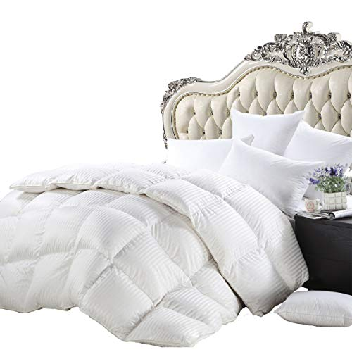 Luxurious Heavy Queen Size Siberian Goose Down Comforter All-Season Duvet Insert, Premium Baffle Box, 1200 Thread Count 100% Egyptian Cotton, 750+ Fill Power, 50 oz, 90 x 90 inches, White Stripe
