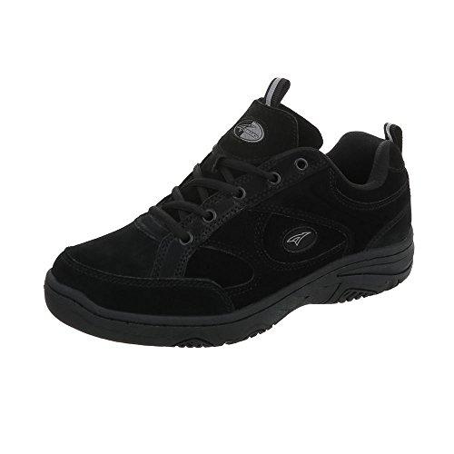 Chaussures De Sport-design Italien En Cuir Pour Hommes Lacets Baskets Noir