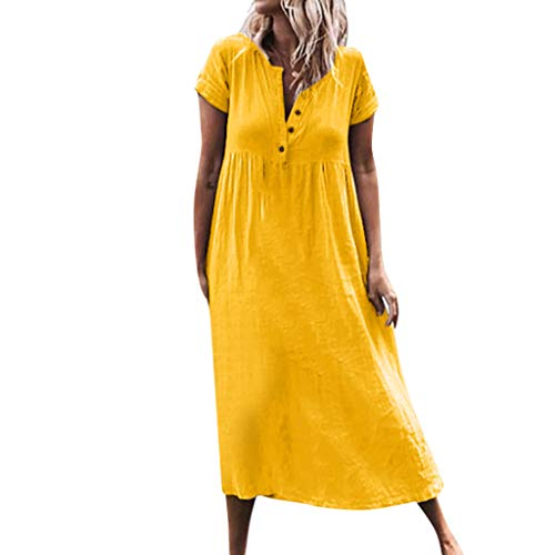 KINGOLDON Women Casual Solid V-Neckline Roll Up The Sleeve Dress Splice Button Dress Maxi Dresses for Women Yellow