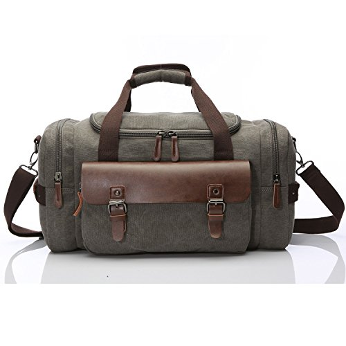 Travel Duffel Canvas&Leather Gmy Bag Overnight Weekender Bags women men (Grey 2)