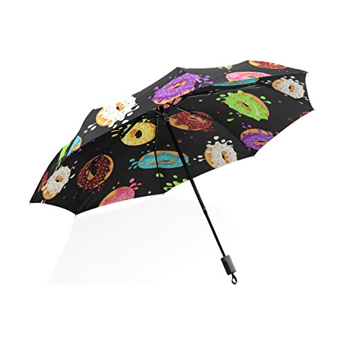 XiangHeFu Umbrella Colorful Donuts Chocolate Auto Open Close 3 Folds Lightweight Anti-UV