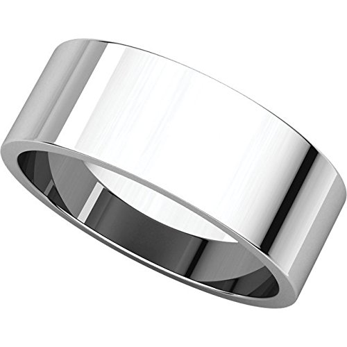 Size 10 Sterling Silver 7mm Flat Wedding Band for Men
