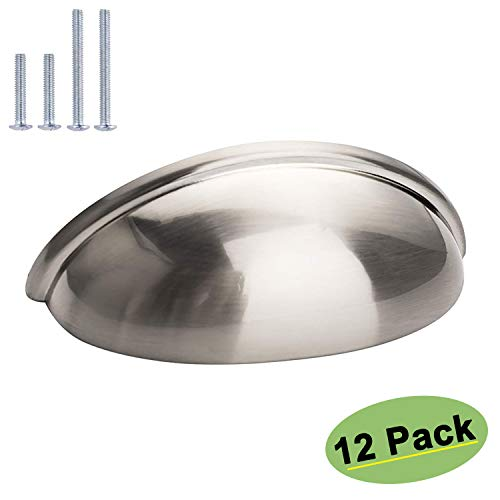 (homdiy Cabinet Knobs Brushed Nickel Cup Pulls 12 Pack - HD0313SNB Cabinet Hardware Bin Cup Drawer Pulls 3 Inch Hole Centers Bin Pulls Modern Cup Handles for Cabinets)