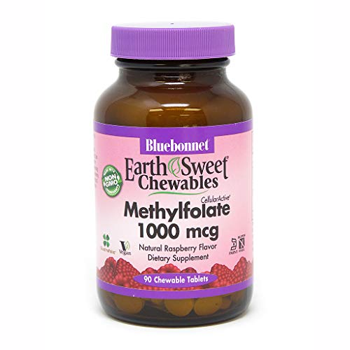 Activated Barley - Bluebonnet Earth Sweet Cellular Active Methylfolate 1000 mcg Chewable Tablets, 90 Count