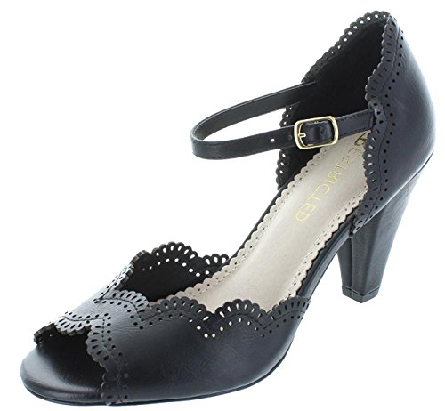Restricted Shoes DAFFODIL Retro T-Strap Mary Jane Pump Heel (7, Black) (Womens Saddle 1950s Shoes)