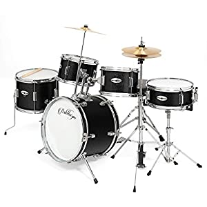 """Ashthorpe 5-Piece Complete Kid's Junior Drum Set with Genuine Brass Cymbals - Children's Professional Kit with 16"""" Bass Drum, Adjustable Throne, Cymbals, Hi-Hats, Pedals & Drumsticks - Multiple Colors from Ashthorpe"""