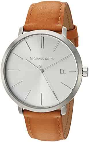 Michael Kors Men's Blake Stainless Steel Quartz Watch with Leather Strap, Silver/Brown/White, 20