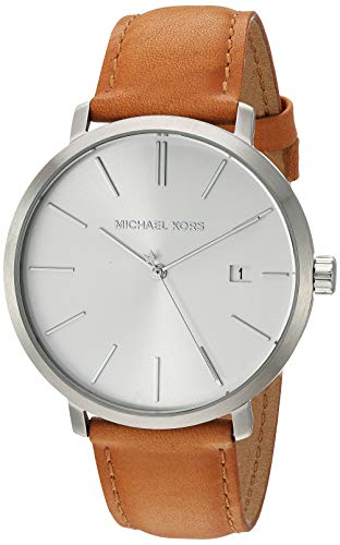 Michael Kors Men's Blake Stainless Steel Quartz Watch with Leather Strap, Silver/Brown/White, 20 (Michael Kors Watch Men Leather)