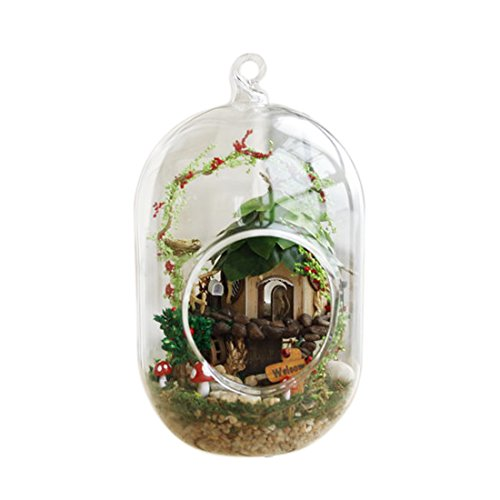 Fcoson Miniature Fairy Garden Ornaments Accessories DIY House Kits Wooden Dollhouse with Crystal Glass Ball Hanging Decorations for bedroom home Table Balcony by Fcoson