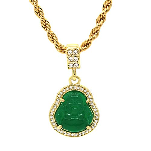 L & L Nation 14K Gold Plated High Fashion Lucky Smiling Buddha Charm Pendant Green Red White Black Blue On 4MM Rope Chain (1.Green)