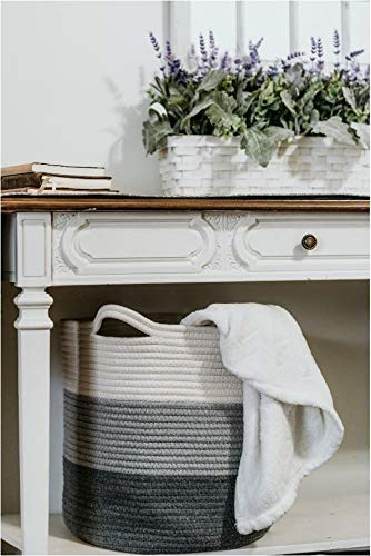 Woven Cotton Storage Basket With Handles - 14 inches X 15 inches - Use for Laundry Storage, Blankets, Bed Sheets, Toys, Baby Clothes - Cotton Rope Organizer - Coiled Round White Laundry Hamper ()