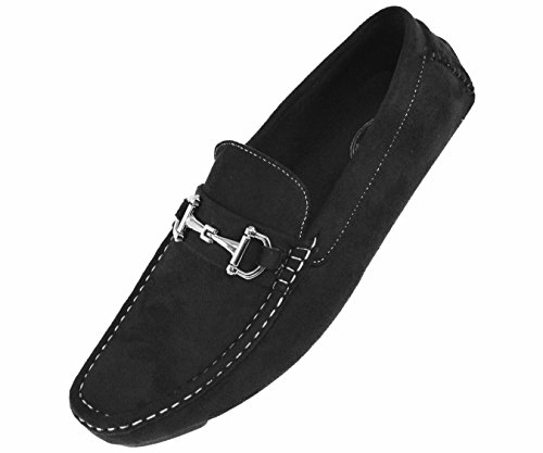 (Amali Mens Plush Microfiber Faux Suede Slip On Loafer Driving Shoe with Buckle Style Walken Black/Silver)