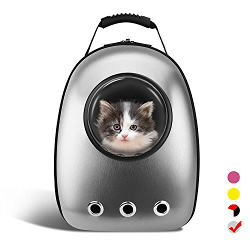 (AntTech Breathable Pet Carrier Backpacks Travel Backpack Space Capsule Carrier Bag Hiking Bubble Backpack for Cat & Dog Puppy-Silver)