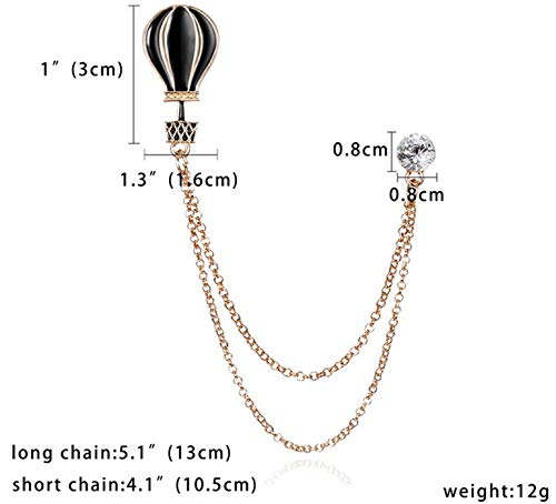 Connie Cloris Men Women Elegant Lapel Pin Badge with Chains Brooch Pin for Suit (Gold-hot-air Balloon-Chain brooch-0616)