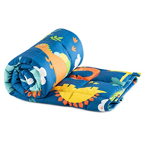 Sivio-Kids-Weighted-Blanket-5-lbs-36-x-48-inches-100-Natural-Cotton-Heavy-Blanket-for-Kids-and-Toddler-Blue-Dinosaur