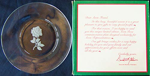 AVON CLEAR GLASS WITH ETCHED ROSE COLLECTOR PLATE