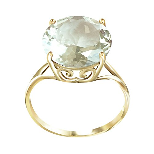 Galaxy Gold 5.5 Carat 14k Solid Gold Ring with Natural 12.0 MM Round Green Amethyst - Size 7