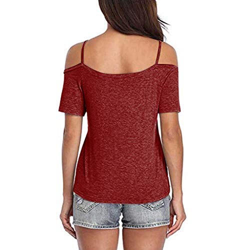 Naladoo Cold Shoulder Top, Off Shoulder Short Sleeve Shirt for Women Camis Tops Wine Red