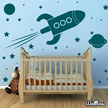 Large Rocket Ship Wall Stickers Spaceship Planets Kids Amazon Co
