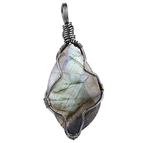 TUMBEELLUWA Labradorite Necklace Irregular Shape Wire Wrapped Quartz Crystal Pendant with Chain Healing Stone Jewelry,Style 1 ()