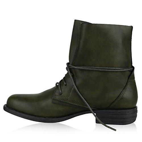 Stiefelparadies Damen Schnürstiefeletten Gefütterte Stiefel Leder-Optik Stiefeletten Animal Print Velours Boots Blockabsatz Schuhe Flandell Dunkelgrün Avion