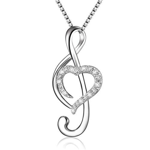 925 Sterling Silver Music Note Love Heart Necklace Pendant, Box Chain 18""