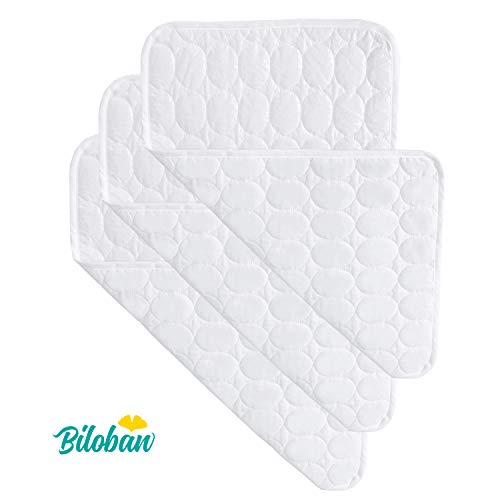 "Changing Pad Liners -100% Waterproof, Baby Skin Friendly, Absorbant Cotton Quilted, Baby Diaper Changing Cover Mat, 3 Count, Larger in 28"" x 15"", White"