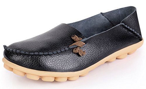 LabatoStyle Women's Genuine Leather Flats Casual Moccasin Driving loafers Shoes (Black, 8 B(M) US)