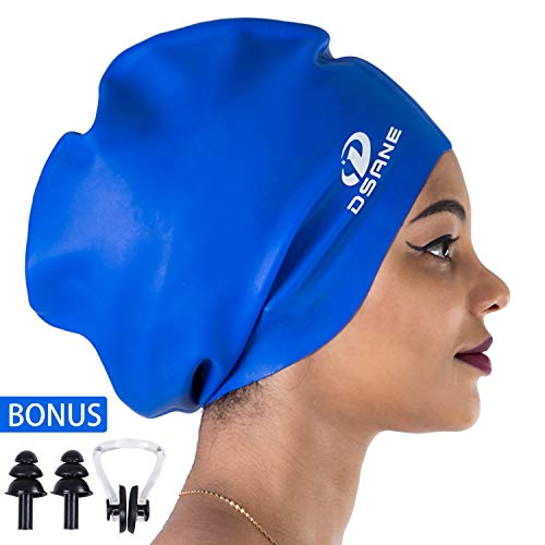 Dsane Extra Large XL Swimming/Shower Cap for Women and Men,Special Design Swim Cap for Long Thick Curly Hair&Dreadlocks Weaves Braids Afros Silicone Keep Your Hair Dry