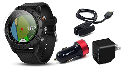Garmin Approach S60 (Black) Golf GPS Watch with Screen Protector & Charging Adapters Bundle | Includes Multi Sport Golf GPS, Tempered Glass Screen Protector & PlayBetter USB Car/Wall Adapters