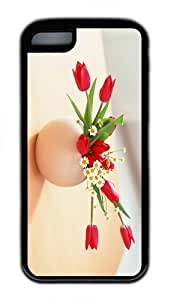 cover fancy flowers vase TPU Black Case for iphone 5C