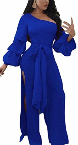 GenericWomen Generic Womens Sexy Straps Tilt Shoulder Bishop Sleeve Split Playsuit Blue L - Tilt Womens Jeans Pants