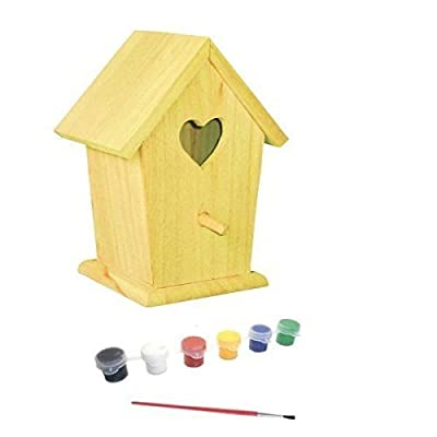 CraftKitsAndSupplies Heart Hole Bird House Kit with Paint and Brush: Toys & Games