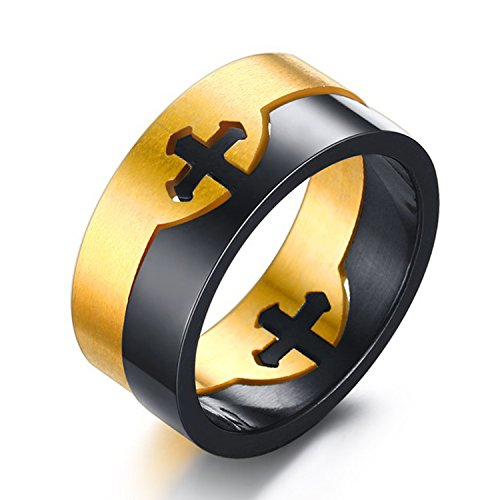 LILILEO Jewelry 10mm Stainless Steel Black and Gold Plating Cross High Polished Ring for Unisex -