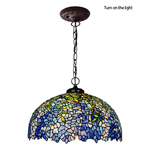 Tiffany Style Pendant Light, 20-Inch Stained Glass Wisteria Design Shade Metal Chain Pendant Lamp 3-Light Lighting (Wisteria Three Light Chandelier)