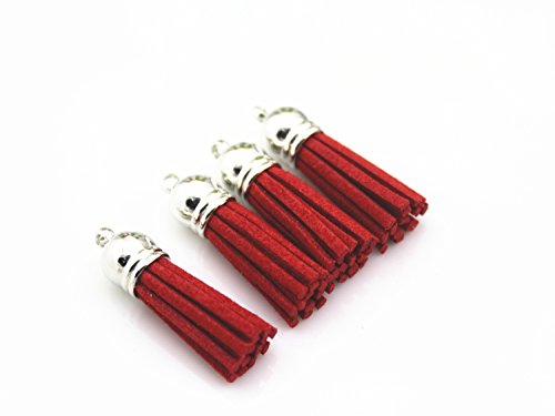40 Silver Cap 1-1/2 inch Faux Suede Tassel Tassel Charm with CCB Cap for Keychain Cellphone Straps Jewelry Charms (red) -